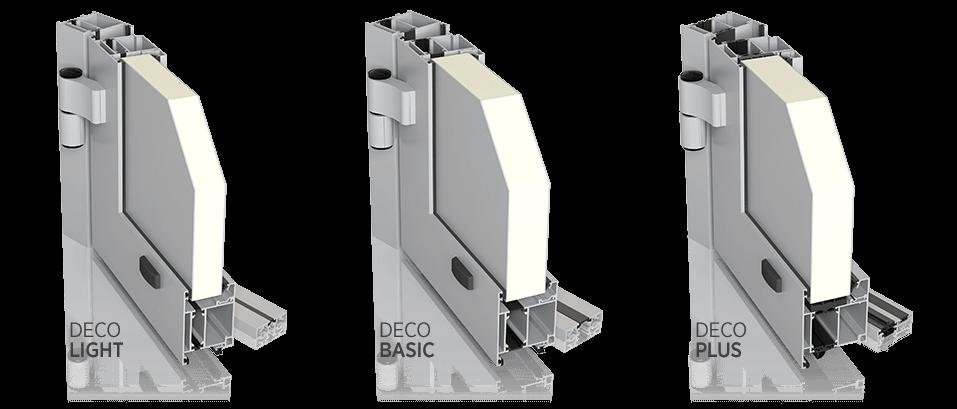 Алюмінієві зовнішні двері DECO: LIGHT, BASIC, PLUS для промислових об'єктів