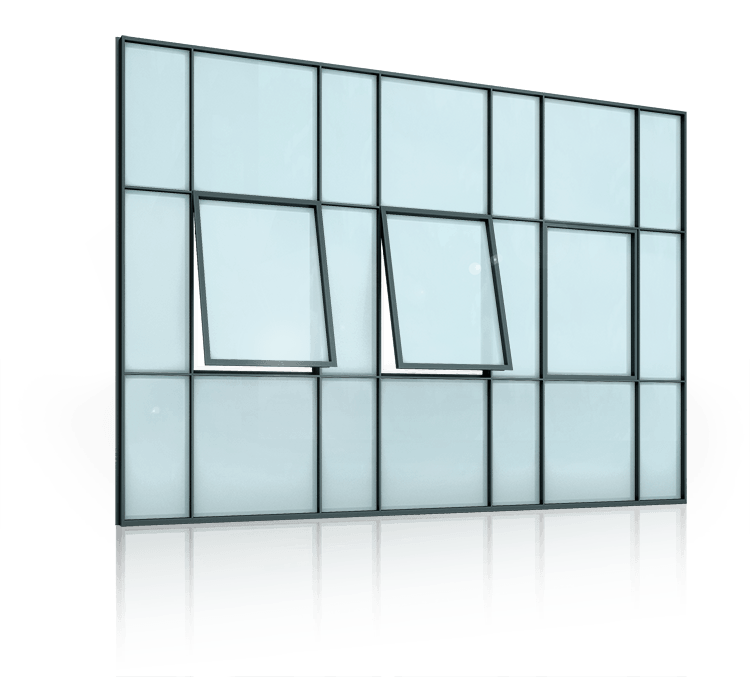 Сталеві профільні внутрішні та зовнішні вікна для промислових об'єктів