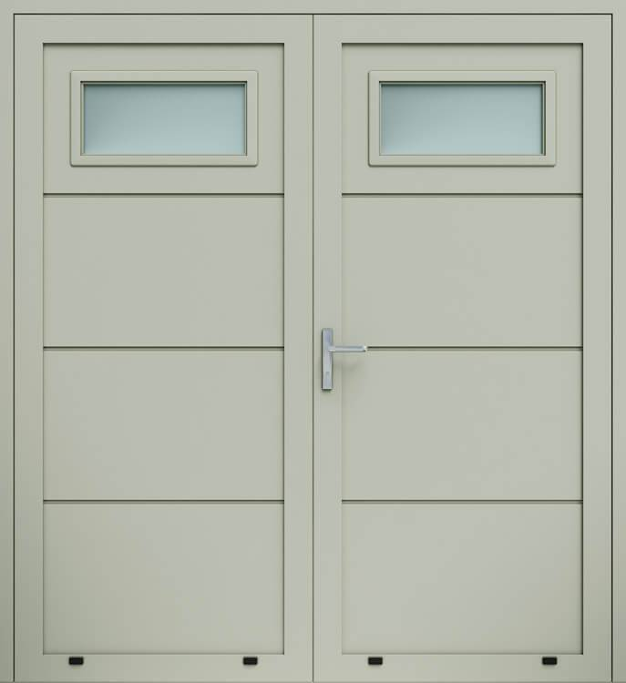 Алюмінієві панельні двостулкові двері wisniowski без формування, скління А1