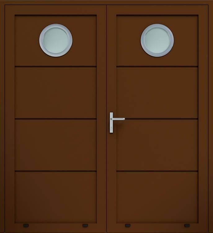 Алюмінієві панельні двостулкові двері wisniowskі без формування, скління О