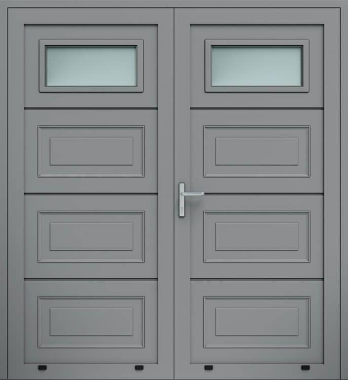 Алюмінієві панельні двостулкові двері wisniowski, кесони, скління А1