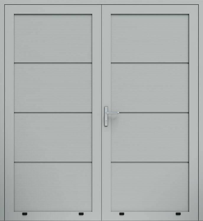 """Алюмінієві панельні двостулкові двері wisniowski, панель """"V"""""""