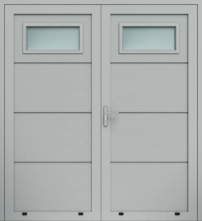 """Алюмінієві панельні двостулкові двері wisniowski, панель """"V"""", скління А1"""