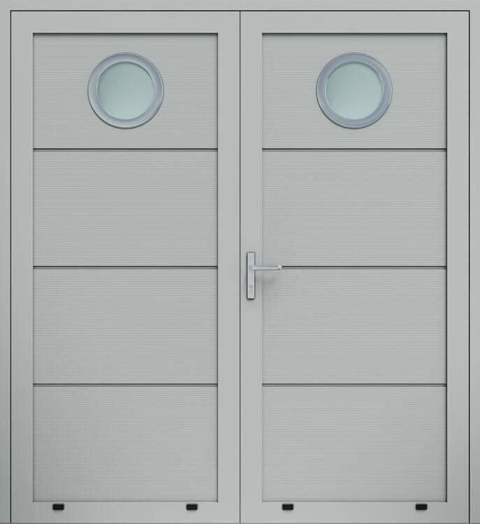 """Алюмінієві панельні двостулкові двері wisniowski, панель """"V"""", скління О"""
