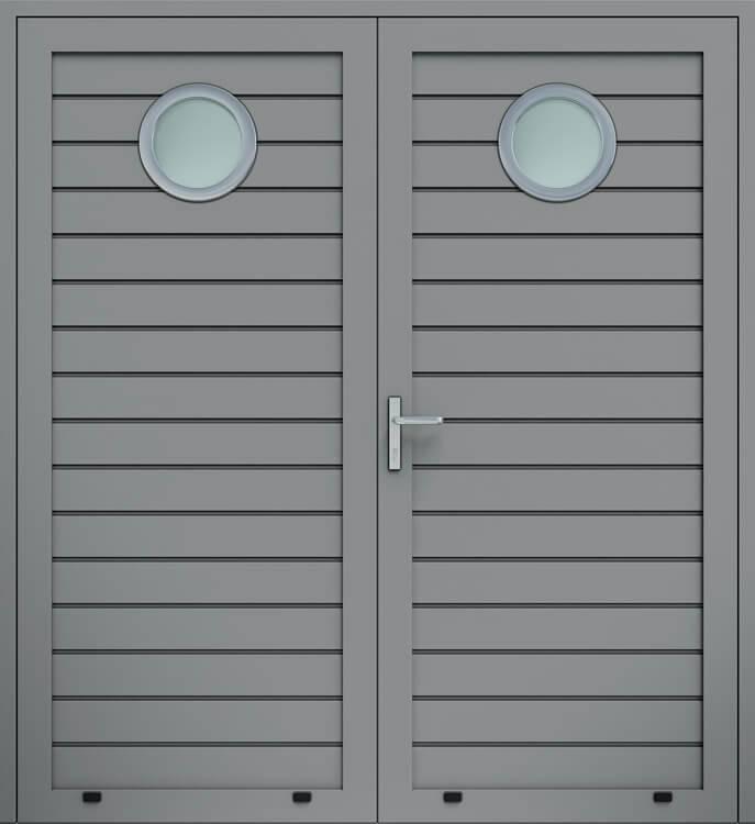 Алюмінієві панельні двостулкові двері wisniowski, низьке формування, скління О