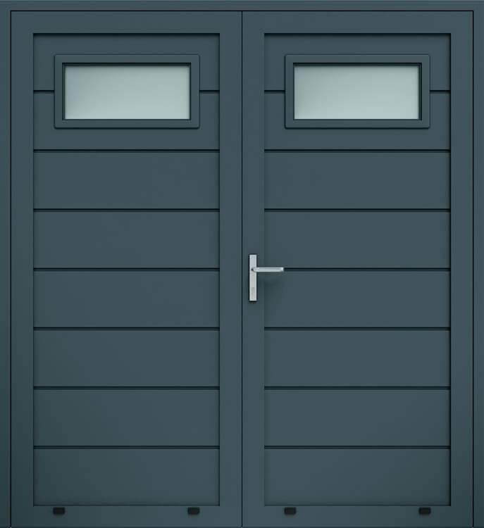 Алюмінієві панельні двостулкові двері wisniowski, високе формування, скління А1