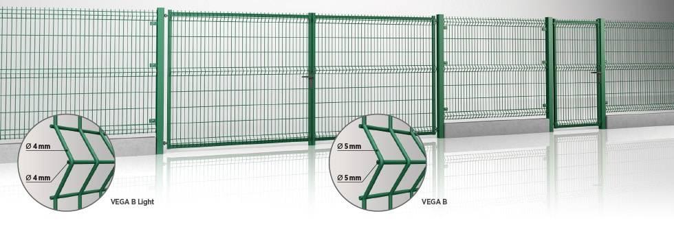 Розпашні ворота та хвіртка системи MODEST для промисловості - заповнення панеллю Vega Bt