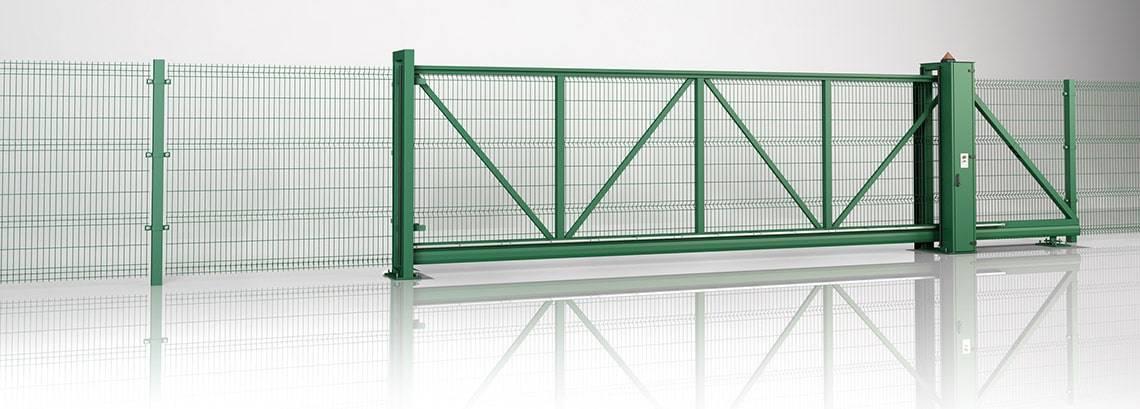 Решітчасті панелі VEGA 3D - пересувні ворота PI 130 та панель VEGA B + VEGA B Light