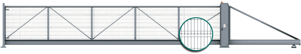 Відкатні ворота для огорожі PI 200 із панелями VEGA 2D Super для промисловості