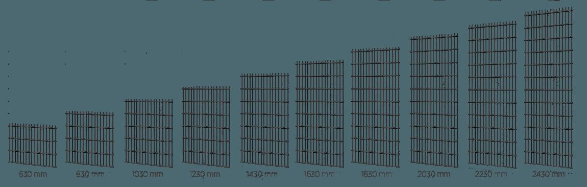 Варіанти розмірів висоти решітчастих панелей VEGA 2D