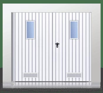 Розпашні ворота віконцями і вентиляційною сіткою