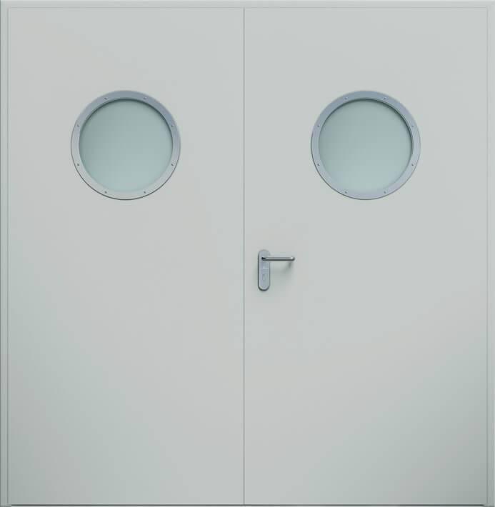 Двостулкові двері ECO, ілюмінатор | RAL 7035